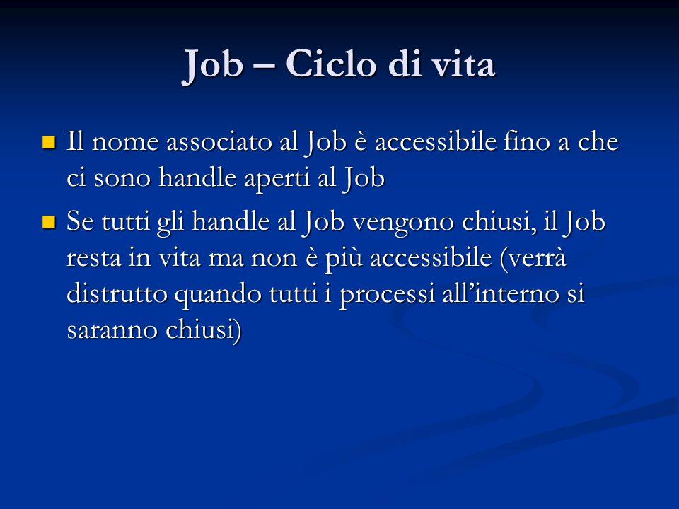 Job – Ciclo di vita Il nome associato al Job è accessibile fino a che ci sono handle aperti al Job.