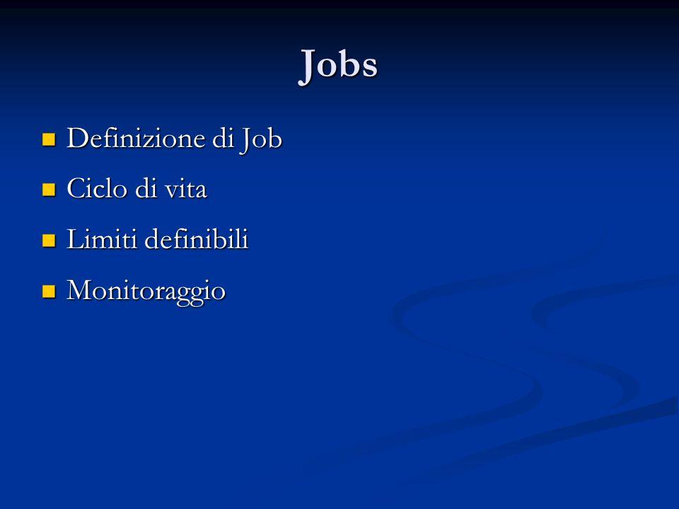 Jobs Definizione di Job Ciclo di vita Limiti definibili Monitoraggio