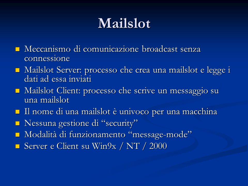 Mailslot Meccanismo di comunicazione broadcast senza connessione