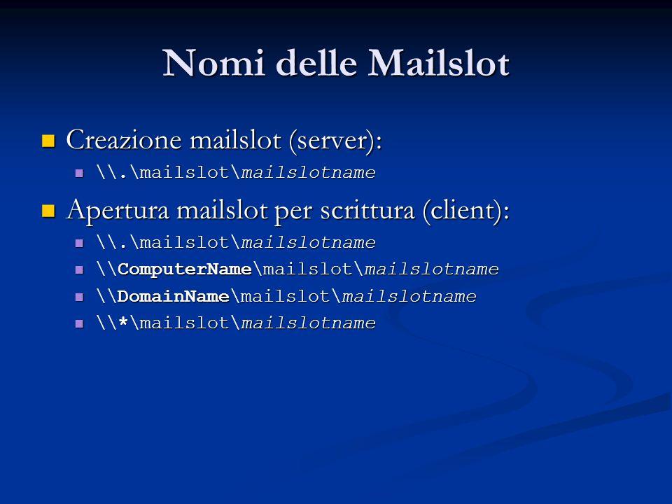 Nomi delle Mailslot Creazione mailslot (server):