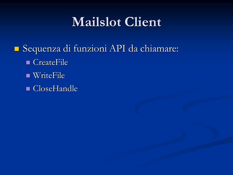 Mailslot Client Sequenza di funzioni API da chiamare: CreateFile