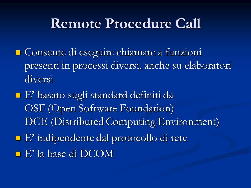 Remote Procedure Call Consente di eseguire chiamate a funzioni presenti in processi diversi, anche su elaboratori diversi.