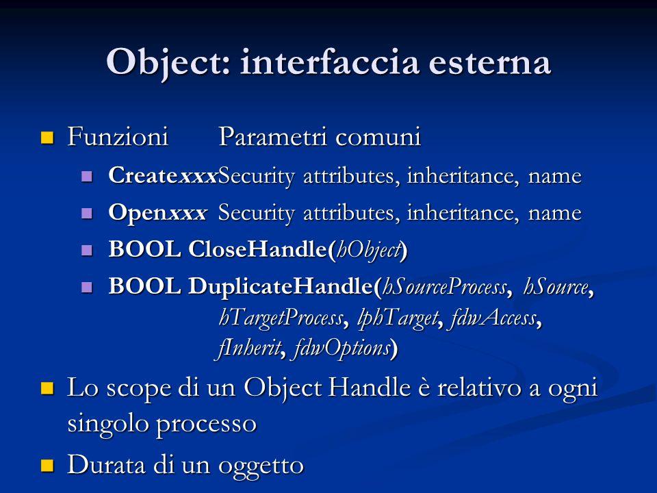Object: interfaccia esterna