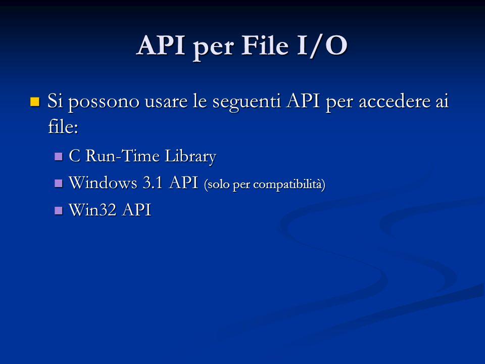 API per File I/O Si possono usare le seguenti API per accedere ai file: C Run-Time Library. Windows 3.1 API (solo per compatibilità)