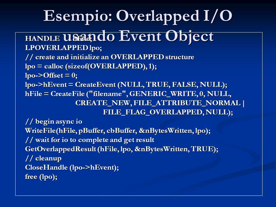Esempio: Overlapped I/O usando Event Object