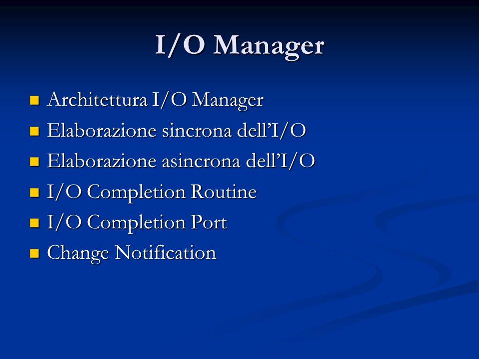 I/O Manager Architettura I/O Manager Elaborazione sincrona dell'I/O