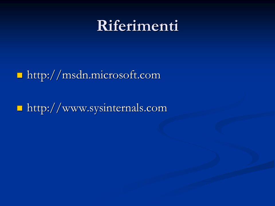 Riferimenti http://msdn.microsoft.com http://www.sysinternals.com