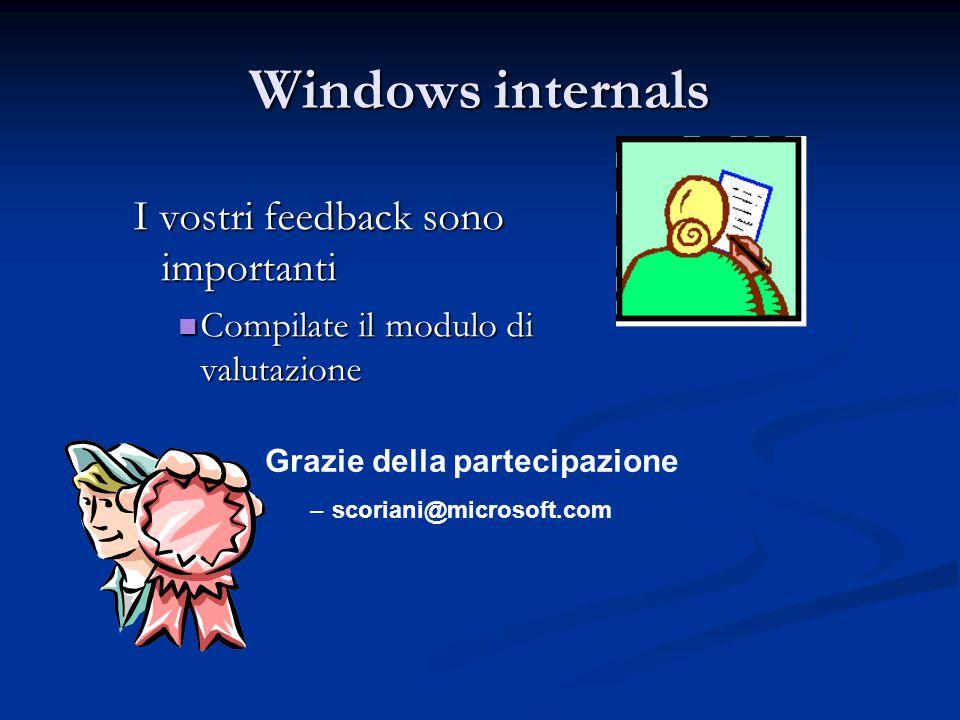 Windows internals I vostri feedback sono importanti