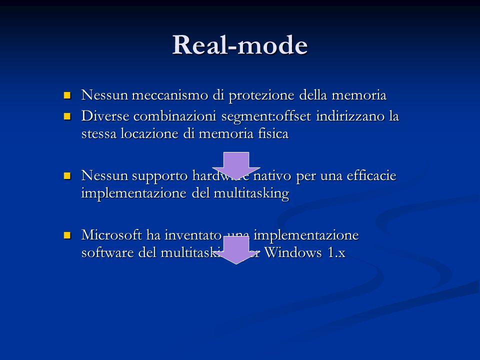 Real-mode Nessun meccanismo di protezione della memoria