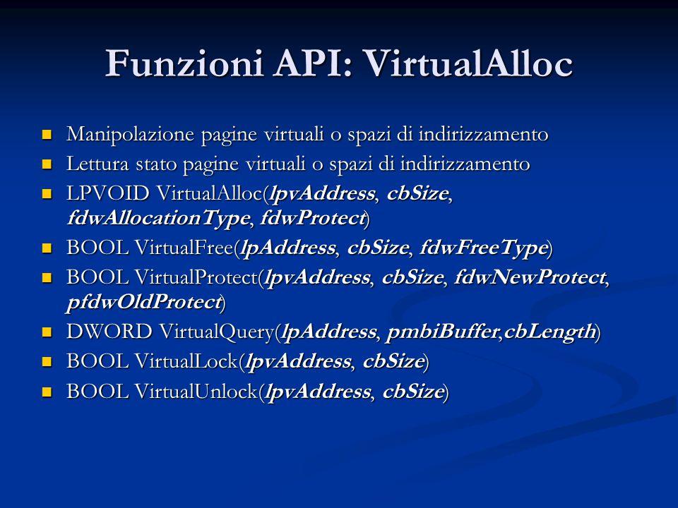 Funzioni API: VirtualAlloc