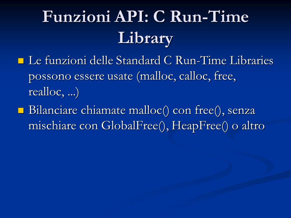 Funzioni API: C Run-Time Library