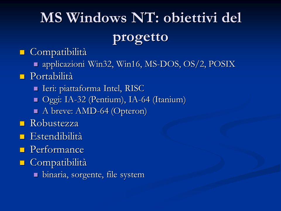 MS Windows NT: obiettivi del progetto