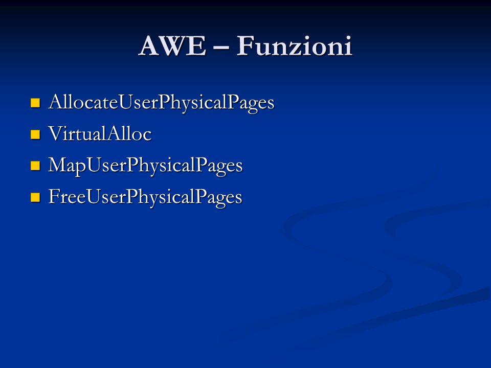 AWE – Funzioni AllocateUserPhysicalPages VirtualAlloc