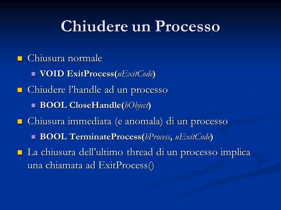 Chiudere un Processo Chiusura normale Chiudere l'handle ad un processo