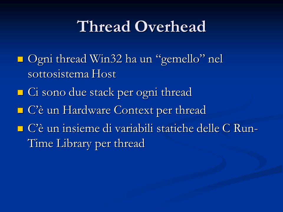 Thread Overhead Ogni thread Win32 ha un gemello nel sottosistema Host. Ci sono due stack per ogni thread.