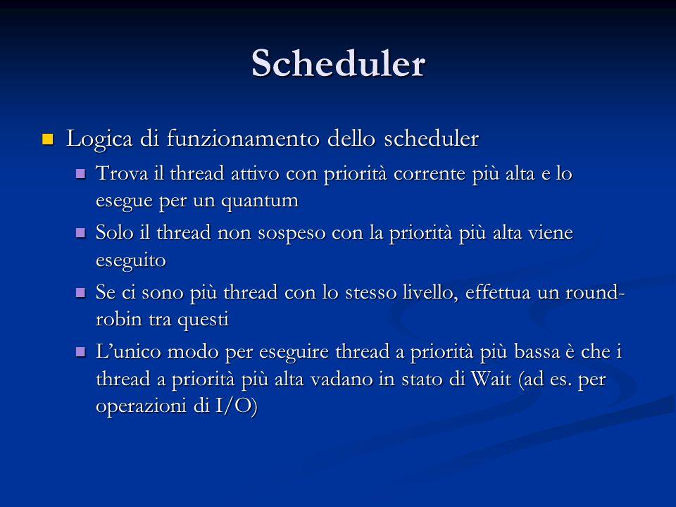 Scheduler Logica di funzionamento dello scheduler