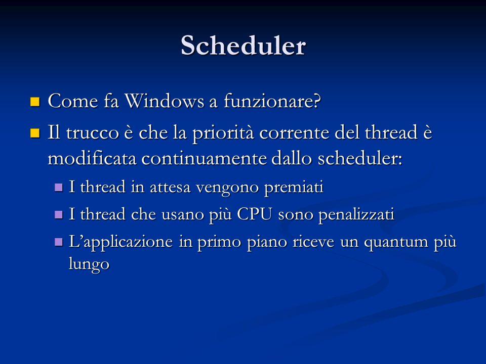 Scheduler Come fa Windows a funzionare
