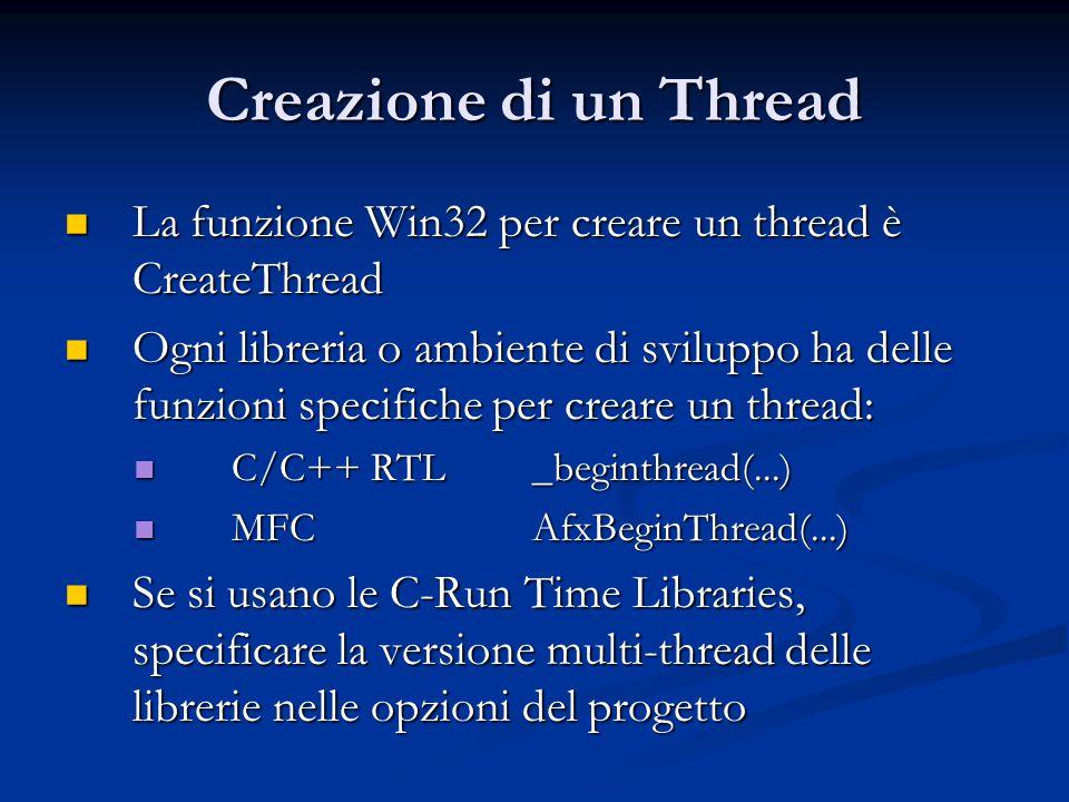Creazione di un Thread La funzione Win32 per creare un thread è CreateThread.
