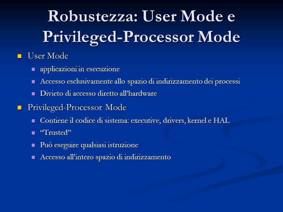 Robustezza: User Mode e Privileged-Processor Mode
