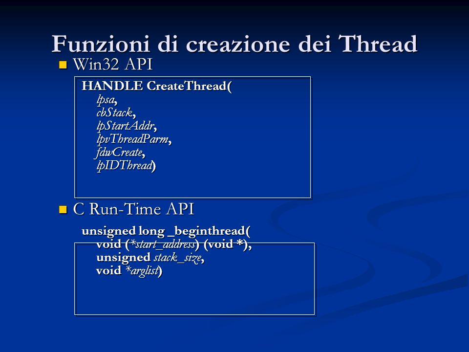 Funzioni di creazione dei Thread