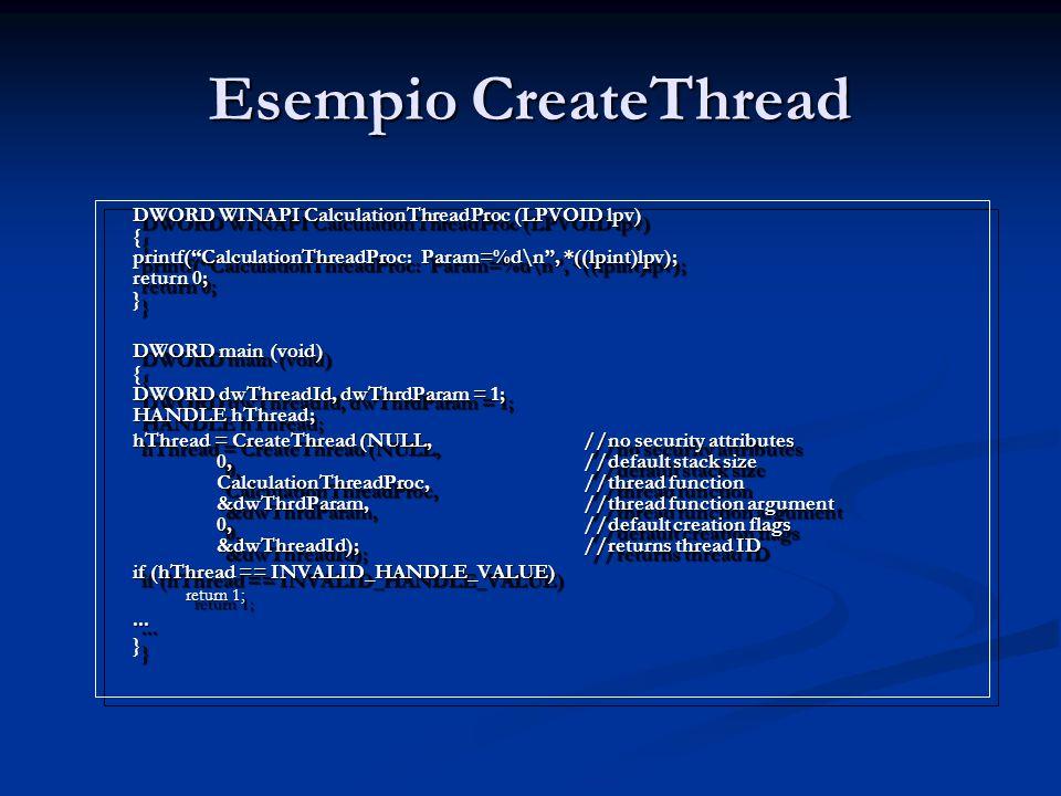 Esempio CreateThread DWORD WINAPI CalculationThreadProc (LPVOID lpv) { printf( CalculationThreadProc: Param=%d\n , *((lpint)lpv); return 0; }