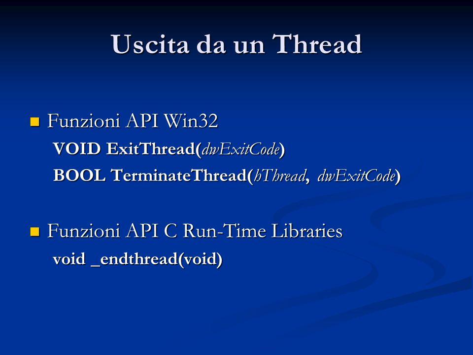 Uscita da un Thread Funzioni API Win32