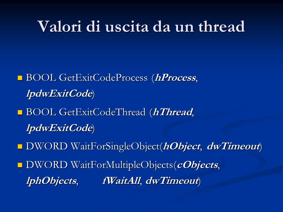 Valori di uscita da un thread