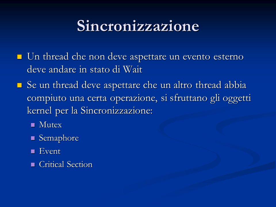 Sincronizzazione Un thread che non deve aspettare un evento esterno deve andare in stato di Wait.