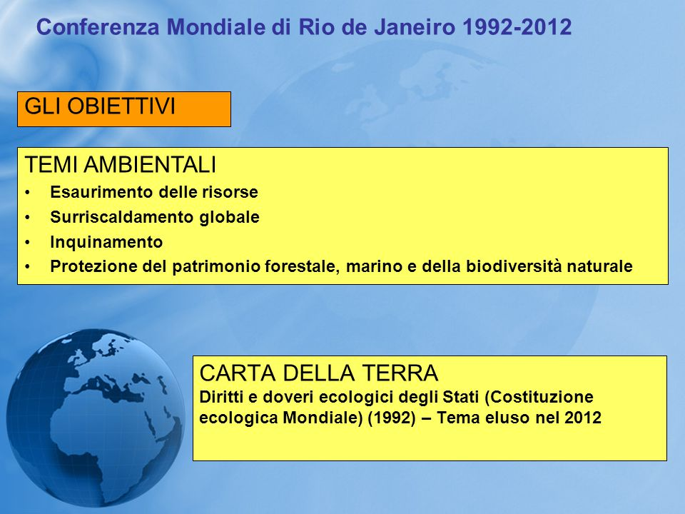Conferenza Mondiale di Rio de Janeiro 1992-2012