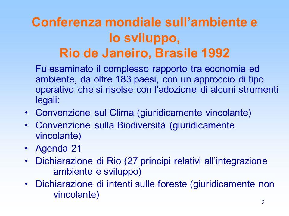 Conferenza mondiale sull'ambiente e lo sviluppo, Rio de Janeiro, Brasile 1992