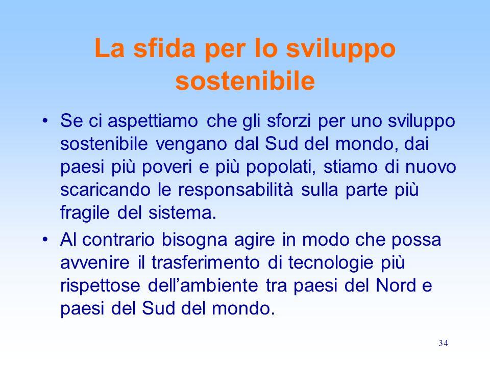 La sfida per lo sviluppo sostenibile