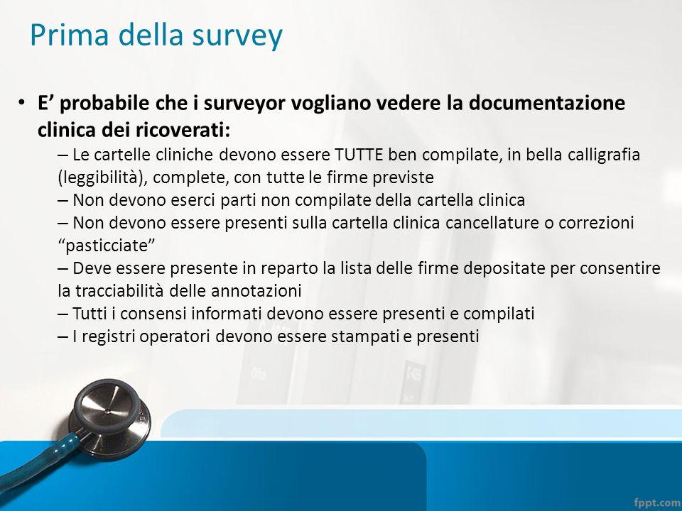 Prima della survey E' probabile che i surveyor vogliano vedere la documentazione clinica dei ricoverati: