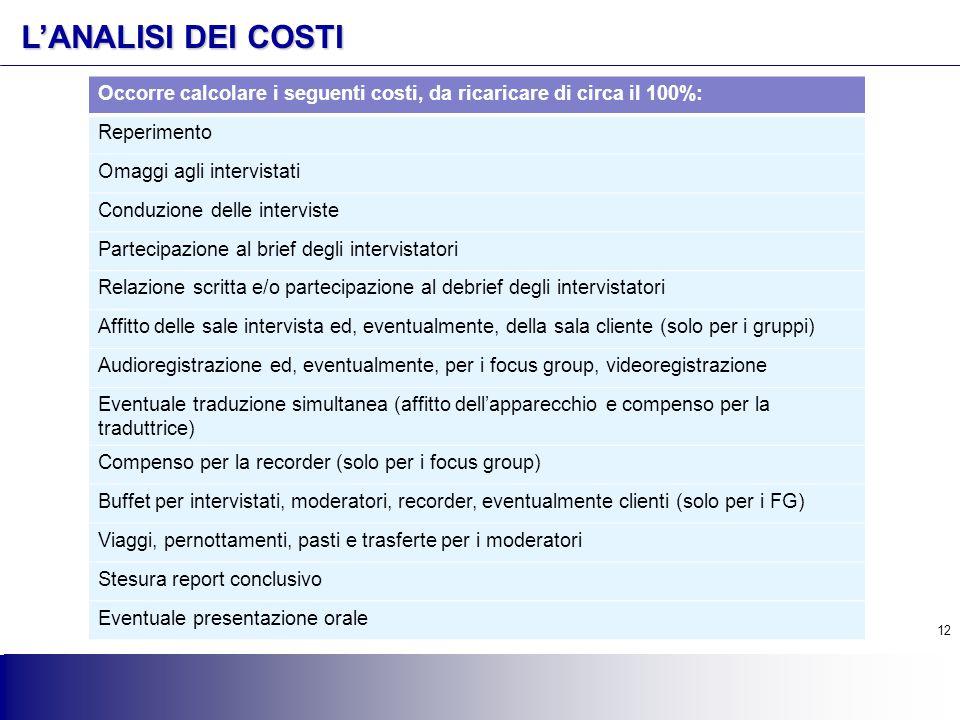 L'ANALISI DEI COSTI Occorre calcolare i seguenti costi, da ricaricare di circa il 100%: Reperimento.