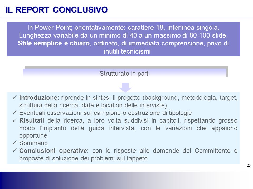 IL REPORT CONCLUSIVO In Power Point; orientativamente: carattere 18, interlinea singola.