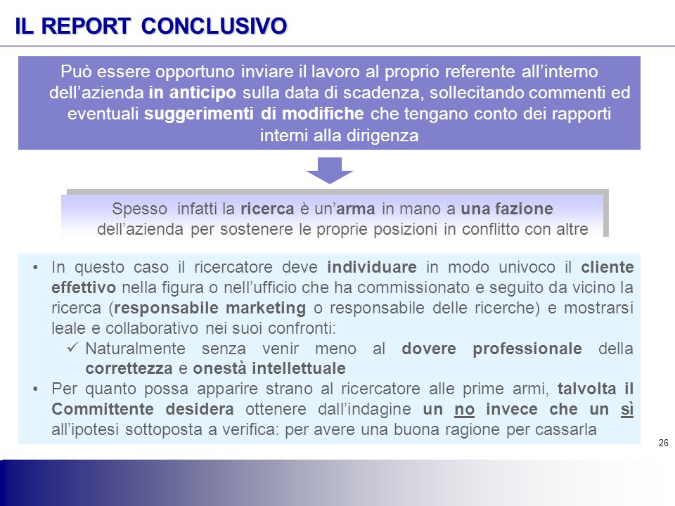 IL REPORT CONCLUSIVO