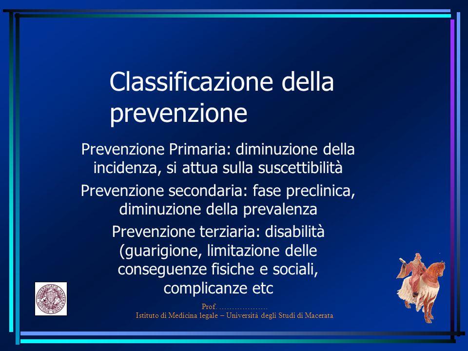 Classificazione della prevenzione