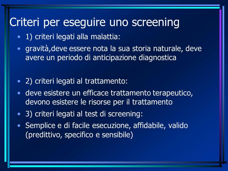 Criteri per eseguire uno screening