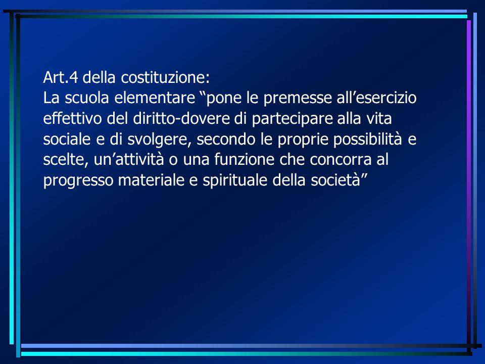 Art.4 della costituzione: La scuola elementare pone le premesse all'esercizio effettivo del diritto-dovere di partecipare alla vita sociale e di svolgere, secondo le proprie possibilità e scelte, un'attività o una funzione che concorra al progresso materiale e spirituale della società
