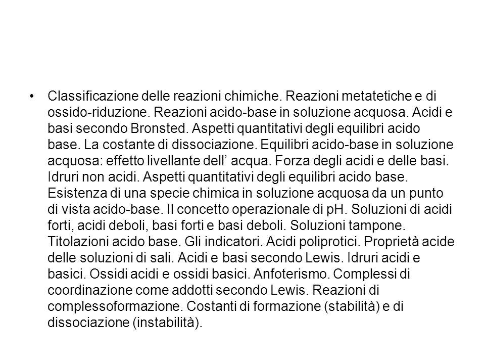 Classificazione delle reazioni chimiche
