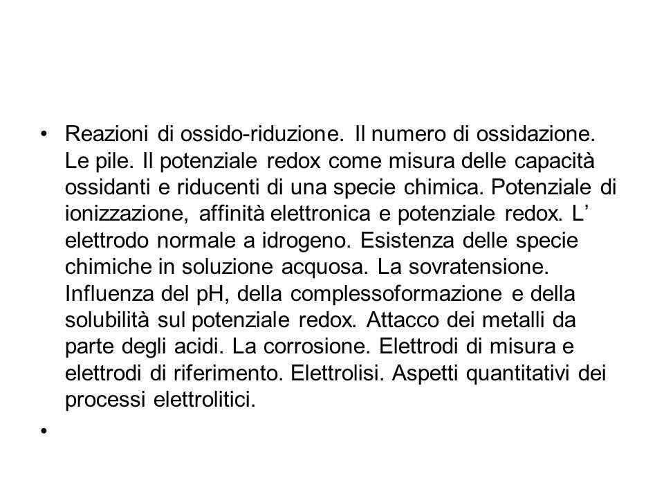 Reazioni di ossido-riduzione. Il numero di ossidazione. Le pile