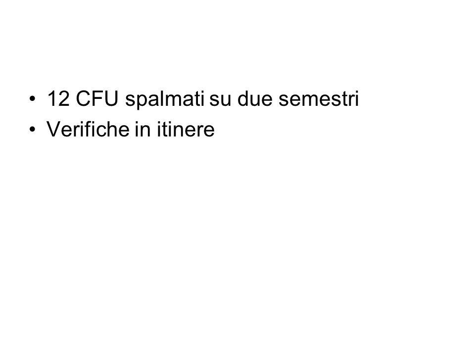 12 CFU spalmati su due semestri