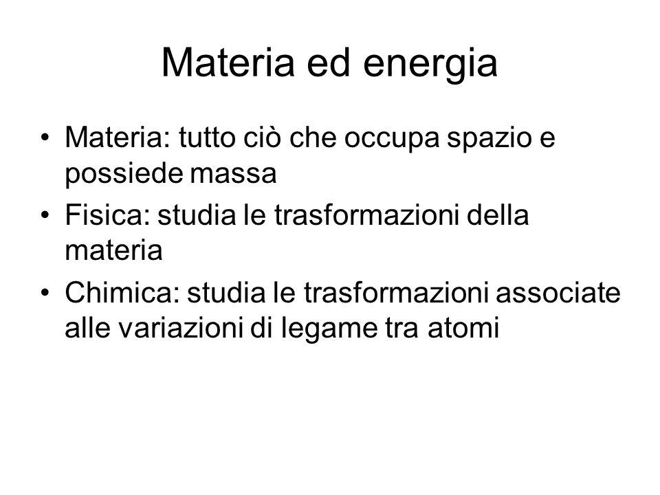 Materia ed energia Materia: tutto ciò che occupa spazio e possiede massa. Fisica: studia le trasformazioni della materia.
