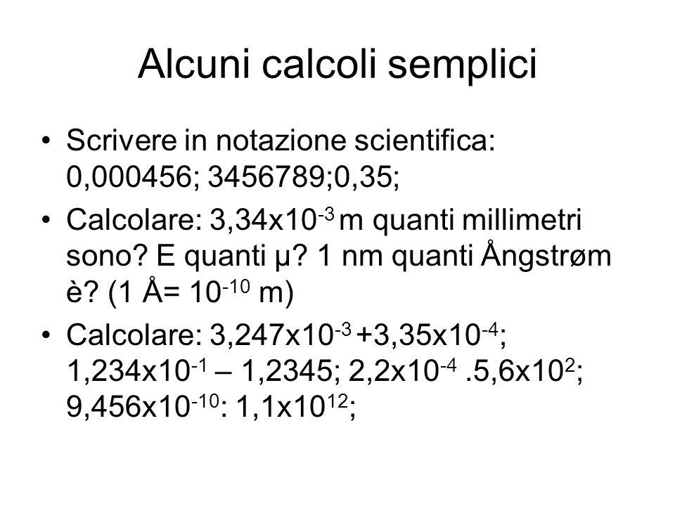 Alcuni calcoli semplici