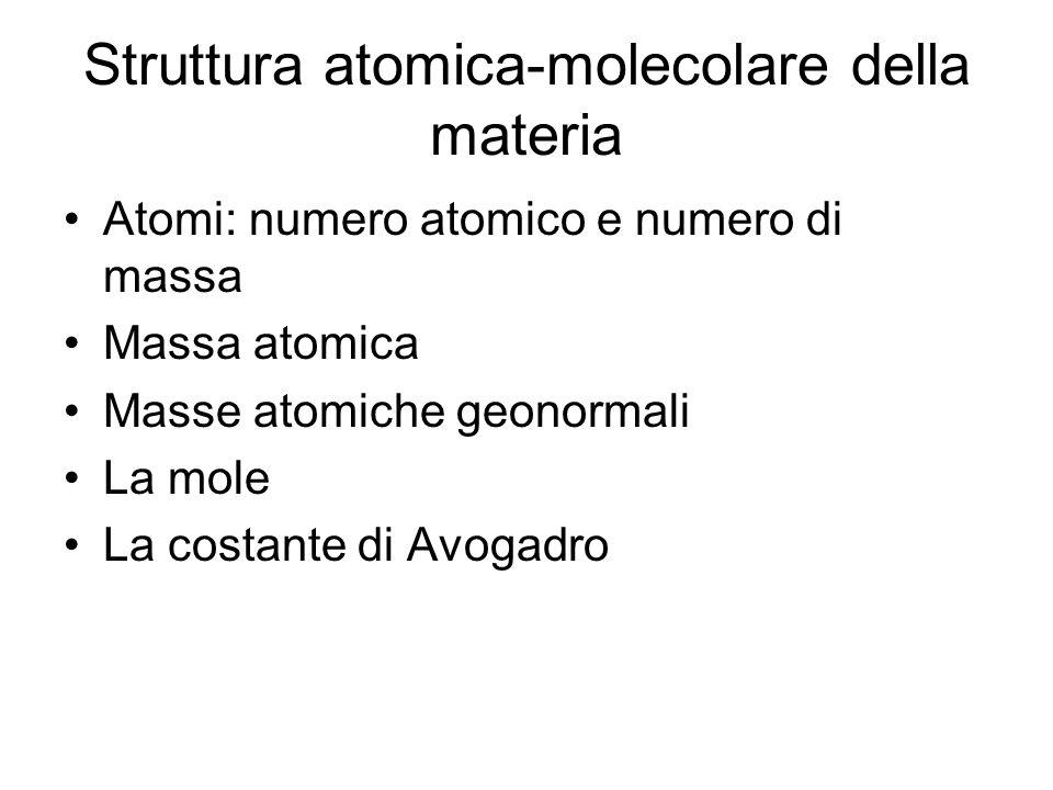 Struttura atomica-molecolare della materia