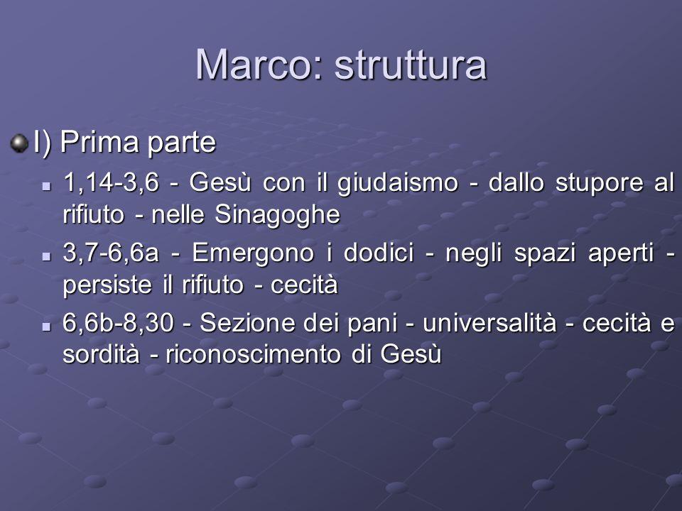 Marco: struttura I) Prima parte