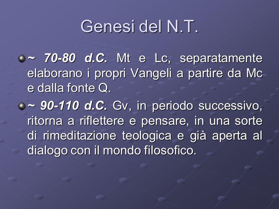 Genesi del N.T. ~ 70-80 d.C. Mt e Lc, separatamente elaborano i propri Vangeli a partire da Mc e dalla fonte Q.