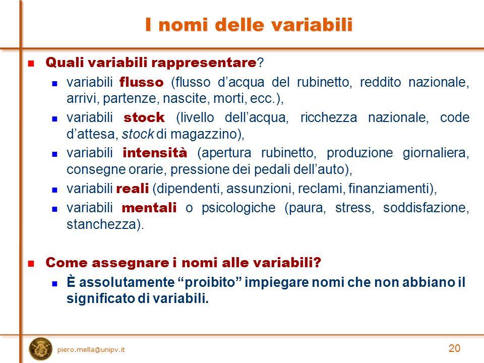 I nomi delle variabili Quali variabili rappresentare