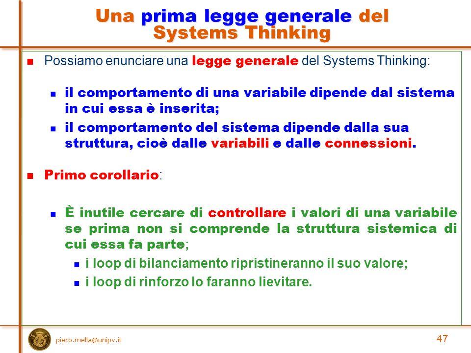 Una prima legge generale del Systems Thinking