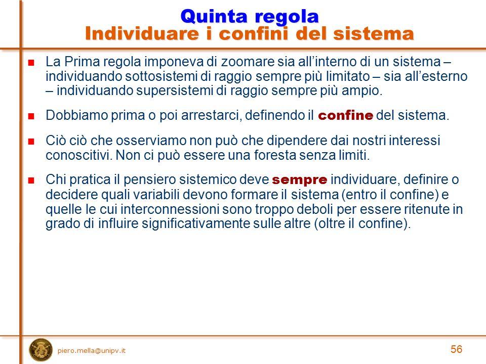 Quinta regola Individuare i confini del sistema