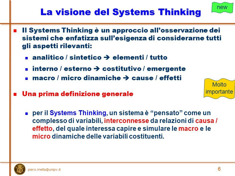 La visione del Systems Thinking
